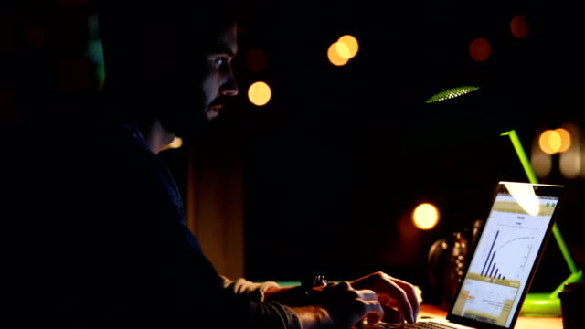 Casual businessman using a laptop at night video