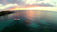 Catamaran at Sunset Aerial video