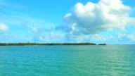 4K Catamaran Blue Tropical Water, Small Palm Tree Island video