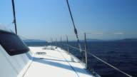 HD DOLLY: Catamaran Sailing In The Sea video