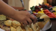 Catering, breakfast tray for business meeting video