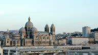 Cathedral La Major, view from a ferry, Marseille, France video