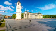 Cathedral Square in Vilnius, Lithuania, panoramic time-lapse video