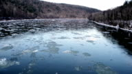 NY Catskill Mountains Delaware River Water Flowing with Winter Ice video