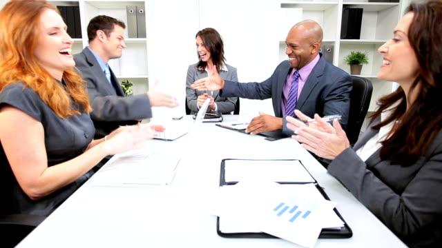 Caucasian Businesswoman Successful Team Meeting video