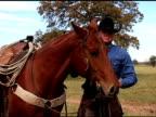Caucasian Cowboy dismounts Brown Horse on Texas Ranch video