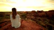 Caucasian female meditating at sunrise video
