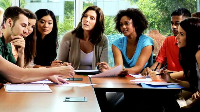 Caucasian Female Tutor Class Multi Ethnic Students video