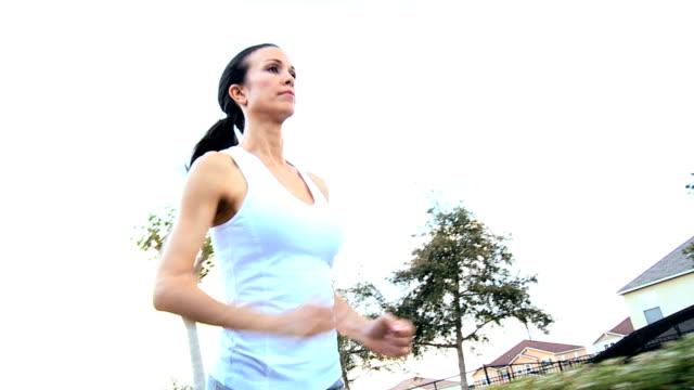 Caucasian Girl Jogging Exercise video
