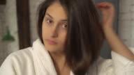 Caucasian model smarten up in the morning video