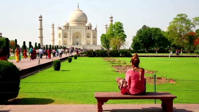 Caucasian woman at Taj Mahal video