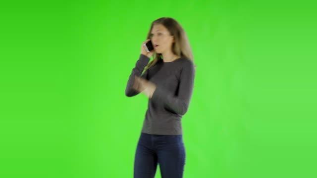 caucasian woman greenscreen cut out casual video