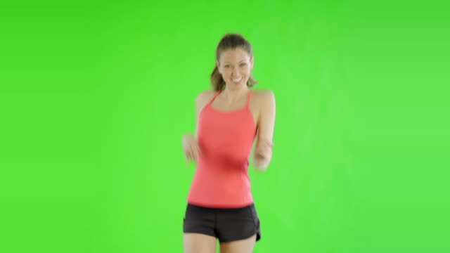 caucasian woman greenscreen cut out sport exercise fit healthy video