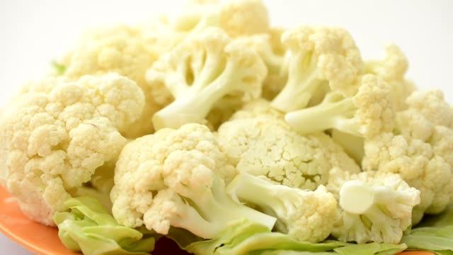 Cauliflower on a board. video