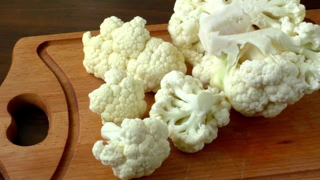 Cauliflower on a chopping board video