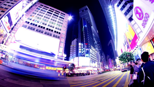 Causeway Bay Rush Hour. Hong Kong Night Timelapse. 4K Wide Shot. video
