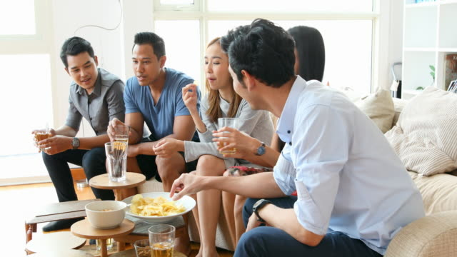 Celebrating Asian Group of Friends at a Party video