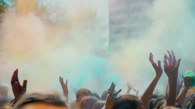 Celebration of Holi colors festival , slow motion video