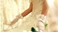 Celebrations. Bride showing her bouquet. video