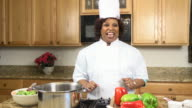 Celebrity Chef Prepares Heathy Meal b - WS video