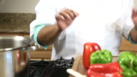 Celebrity Chef Prepares Heathy Meal e - CU video