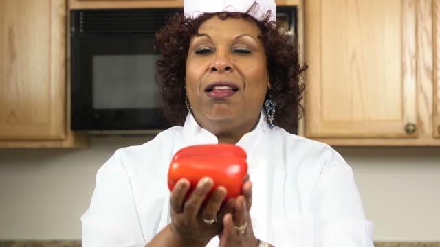 Celebrity Chef Prepares Heathy Meal - CU video