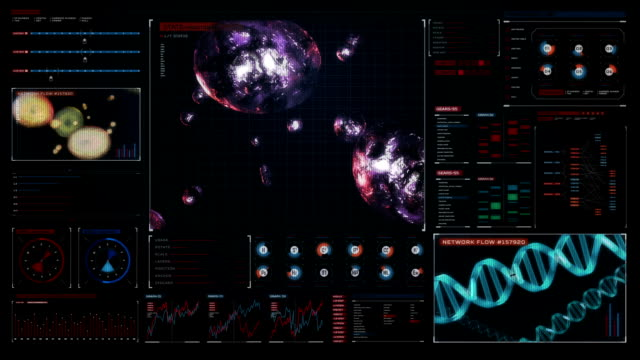 Cell division 3D animation,biology.Genetic engineering, digital dashboard display. video