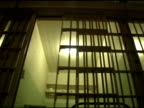 Cell Doors Prison Bars shut, low angle video