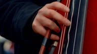 Cello Musician Playing in the Street Close-up video