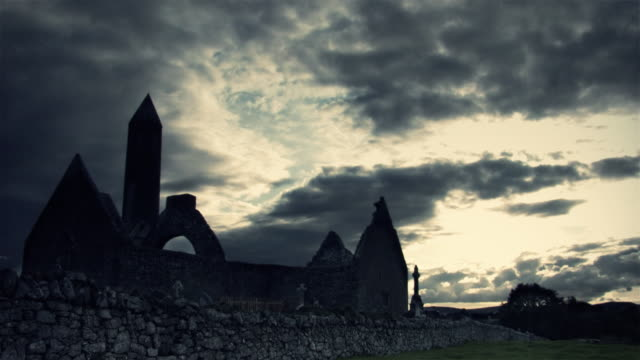 Celtic Tower and Monastery with timelapse clouds video