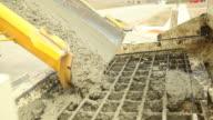 Cement Mixer Truck Trough Unloading Concrete at Construction Site video