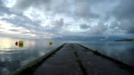 Cement pier in Curonian Lagoon, time lapse video