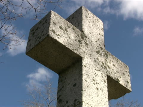 Cemetery cross. Light timelapse. video