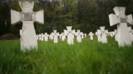 Cemetery of white military crosses 4 video