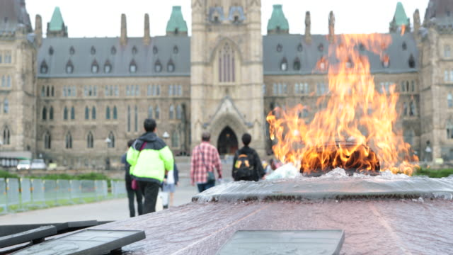 Centennial Flame and Parliement Building in Ottawa, Canada video