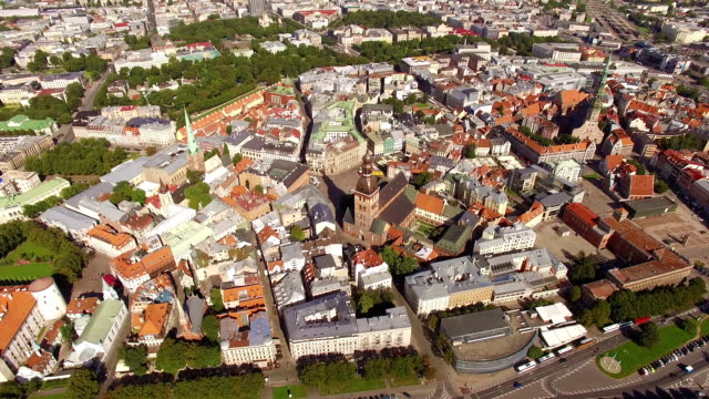 HD - Center of the old European city. Aerial view video