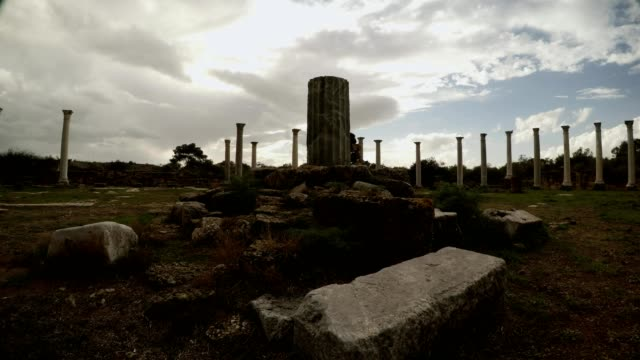 Central column of Roman Agora beautiful cloudly sky antique town Salamis Famagusta video