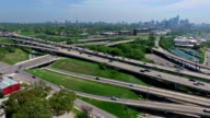 Central Texas Aerial View of Mopac Expressway and Austin Texas Downtown Skyline normal speed lower down during Spring Time video
