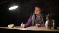 Ceramic maker designing artwork with pencil in her atelier video