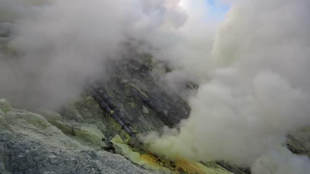 Ceramic Pipes Used for Sulfur Mining at Kawah Ijen Volcano, Java, Indonesia video