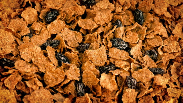 Cereal Flakes And Raisins Rotate Slowly video