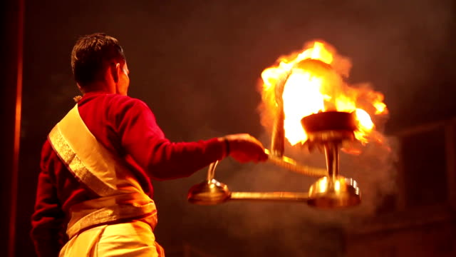 Ceremonial Fire and ritual along the Ganges: Varanasi, India video