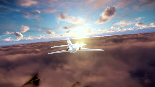 Cessna cruising above clouds at sunset video
