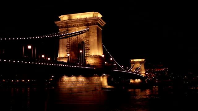 Chain bridge in Budapest - Hungary at night video