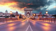 Chain Bridge in Budapest in evening Time lapse video