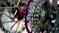 Chain sprockets of bicycle wheel video