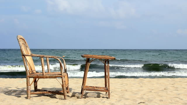 Chair and table on the beach video