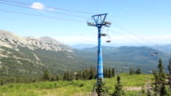 Chairlift, view from high mountain, summer landscape video