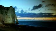 Chalk cliffs at Cote d'Albatre. Etretat, France, Normandy, time lapse, video