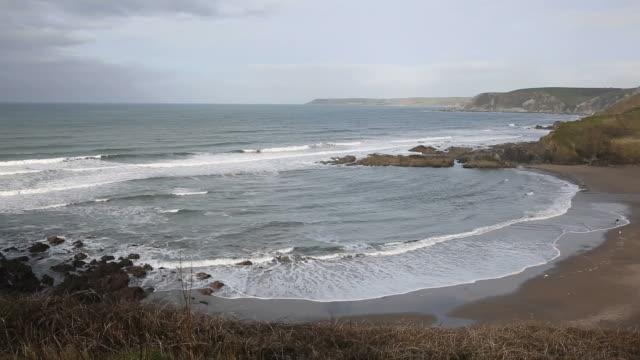 Challaborough bay and coast South Devon England uk video